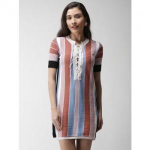 FOREVER 21 Peach-Coloured & Blue Striped A-Line Dress