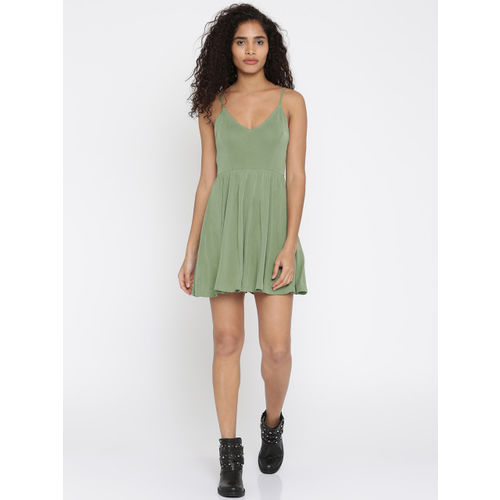FOREVER 21 Women Olive Green Solid A-Line Dress