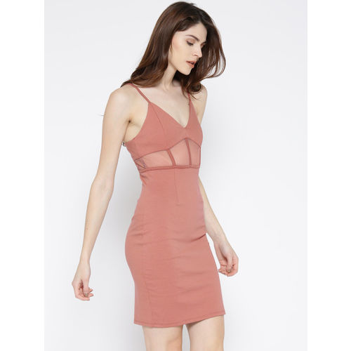 FOREVER 21 Women Dusty Pink Solid Bodycon Dress