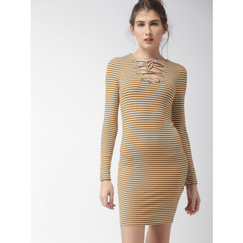 5483ccc618f Buy FOREVER 21 Women Mustard Yellow   White Striped Bodycon Dress ...