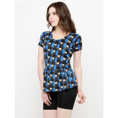 N-Gal Women Blue & Black Printed Swimsuit