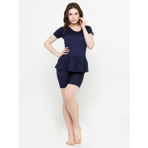 N-Gal Women Navy Blue Solid Swimsuit