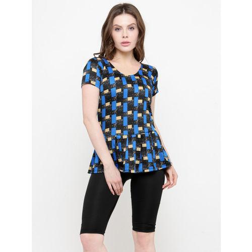 N-Gal Women Black & Blue Printed Swimsuit