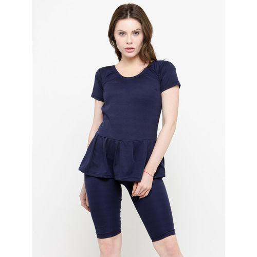 N-Gal Women Navy Blue Solid Swimsuit