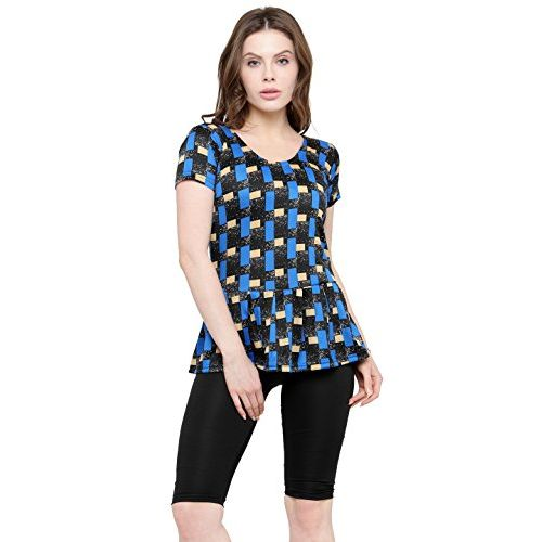 83f7fd3049 ... N-Gal Women Frock Style Blue Print Half Sleeves & Shorts One Piece Swimwear  Swimsuit ...