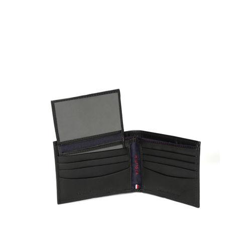 Tommy Hilfiger Men Black Leather Solid Two Fold Wallet