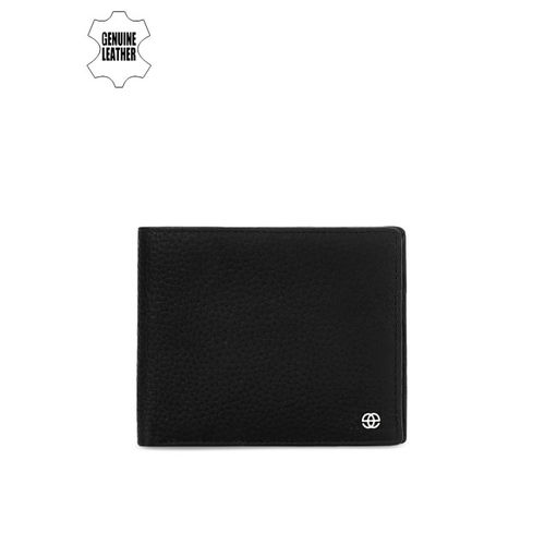 Eske Men Black Textured Two Fold Leather Wallet