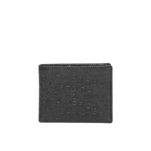 Being Human Men Black Textured Leather Two Fold Wallet