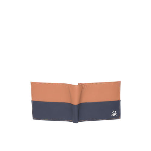 United Colors of Benetton Men Brown & Navy Blue Colourblocked Leather Two Fold Wallet