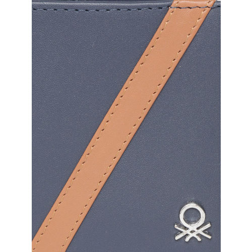 United Colors of Benetton Men Navy Blue Solid Two Fold Leather Wallet