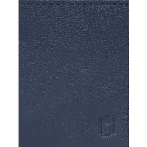Louis Philippe Sport Men Navy Blue & Brown Coloublocked Leather Two Fold Wallet