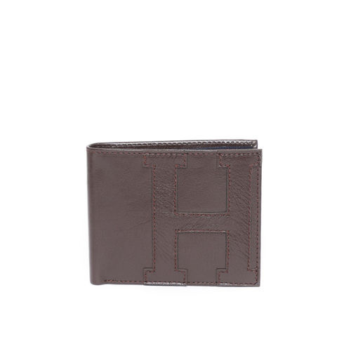 Tommy Hilfiger Men Coffee Brown Leather Applique Two Fold Wallet