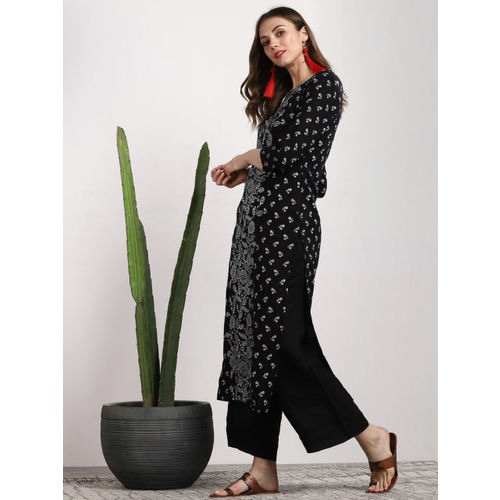 Sangria Women Black Printed Straight Kurta