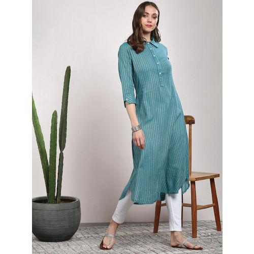 Sangria Women Blue Striped Straight Kurta