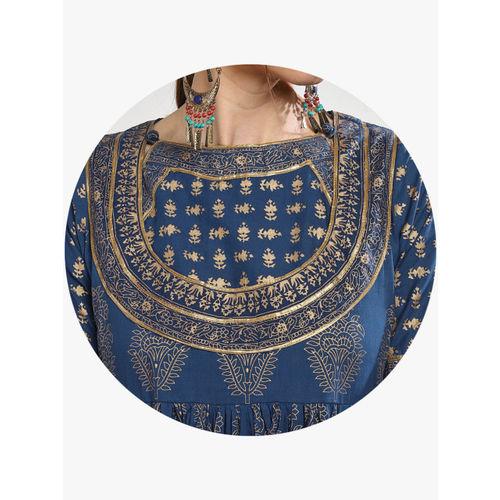 Sangria Women Navy Blue & Gold-Coloured Printed Anarkali Kurta