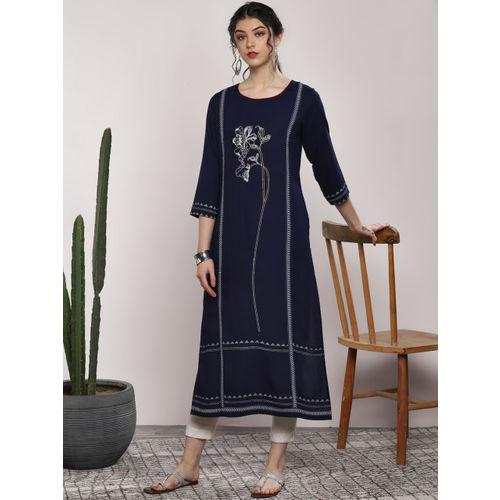 Sangria Women Navy Blue Embroidered Straight Kurta