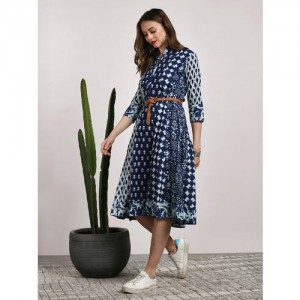 Sangria Navy Blue Cotton Printed Band Collar Paneled Flared A-Line Kurta