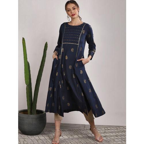 Sangria Women Navy Blue Printed Straight Kurta