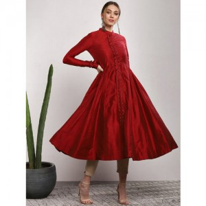 Sangria Red Cotton Solid Anarkali Kurta