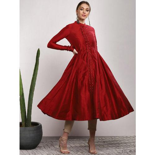 Sangria Red Cotton Solid Anarkali Kurta