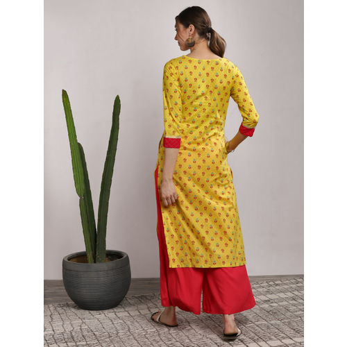 Sangria Women Yellow Printed Straight Kurta