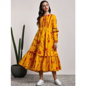 Sangria Yellow Cotton Printed Anarkali Kurta