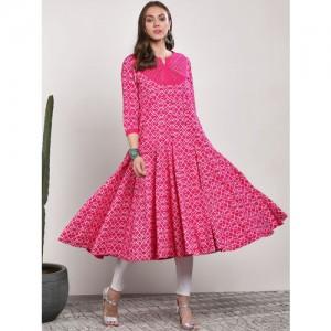 Sangria Women Pink Printed Anarkali Kurta