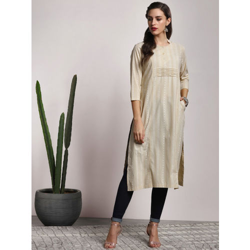 Sangria Women Beige & Off White Printed A-Line Kurta with 3/4Th Sleeves