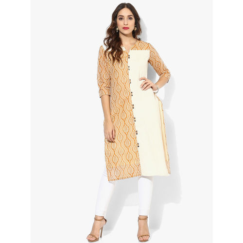 Sangria Women Beige & White Printed Straight Kurta