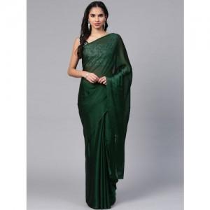 Saree mall Green Solid Saree