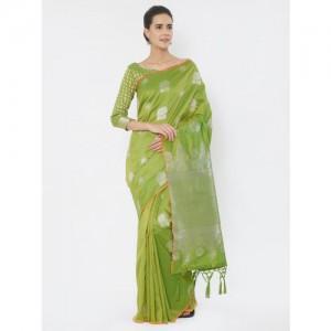 Saree mall Green Silk Blend Printed Banarasi Saree