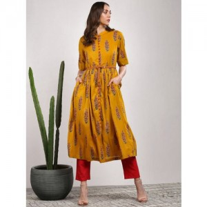 Sangria Mustard Yellow Cotton Printed Straight Kurta