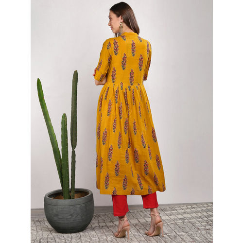 Sangria Mustard Yellow Cotton Printed Straight Kurta