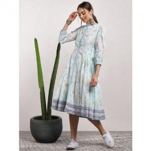 Sangria Blue Cotton Printed A-Line Dress