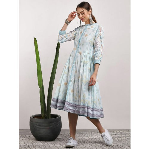 Sangria Blue Cotton Printed A-Line Dress