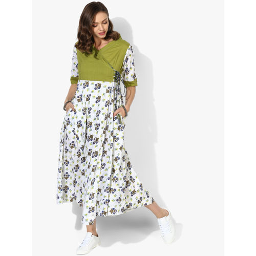 Sangria Women White & Green Printed Fit & Flare Dress