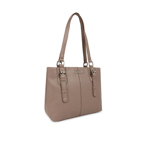 Toteteca Beige Textured Shoulder Bag