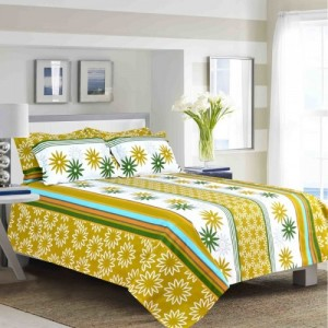 Salona Bichona 144 TC Cotton Double King Floral Bedsheet(Pack of 1, Green)
