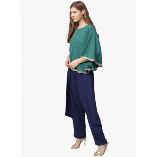 Ahalyaa Teal & Navy Blue Solid Top With Trouser