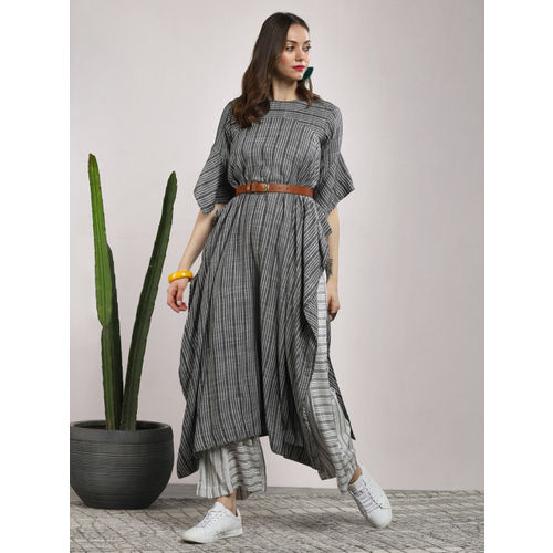 Sangria Grey Cotton Printed Kurta with Palazzos