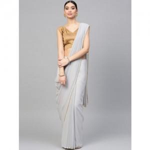 Saree mall Grey Solid Saree