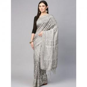 Saree mall Grey Printed Silk Blend Saree