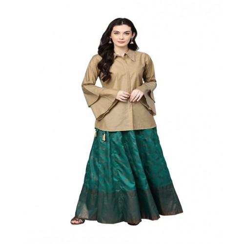 Ahalyaa Beige & Green Printed Top With Skirt