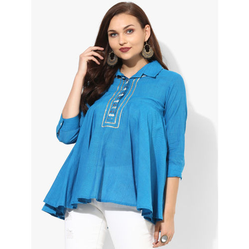 Sangria Shirt Collar 3/4Th Sleeves Trapeze Top With Embellished Placket Detail