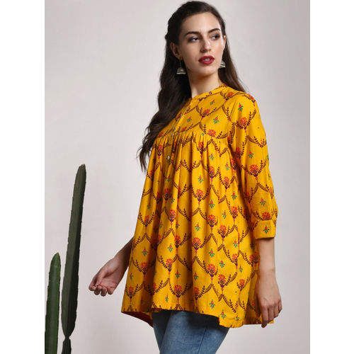 Sangria Yellow & Red Printed Top