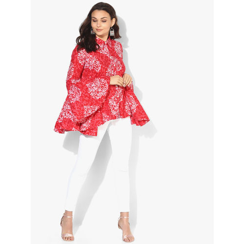 Sangria Women Red Printed Shirt Style Top