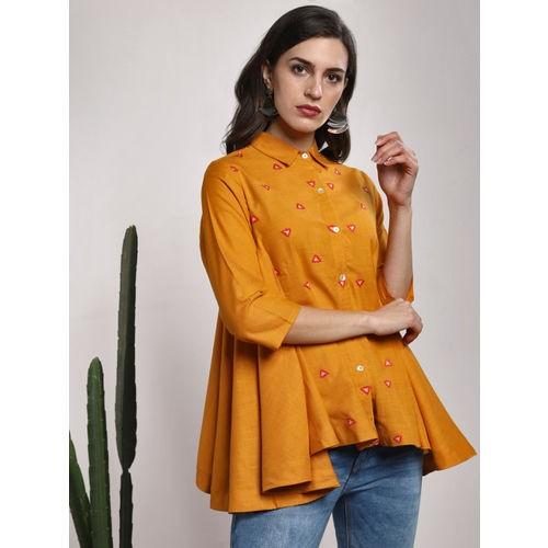 Sangria Mustard Regular Fit Self Design Casual Shirt