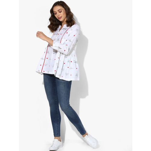 Sangria Band Collar Full Sleeves Quirky Print Shirt