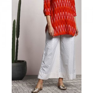Sangria Women White On White Printed Cotton Paneled Cropped Palazzo With Pockets
