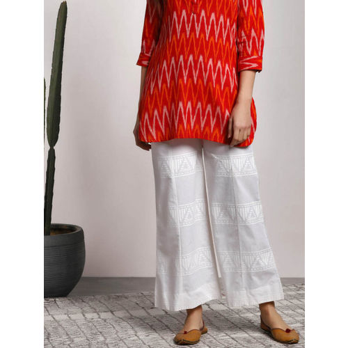 Sangria Women White Printed Cotton Paneled Palazzo With Pockets